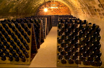 Cava bottles in the cellar at Gramona winery