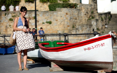 At the old port at Algorta, Getxo is newly hip--here in a scene from a movie
