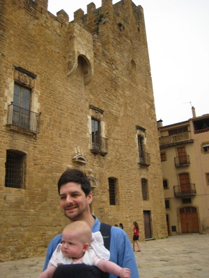 Philip and Moya in front of the Castle in La Bisbal