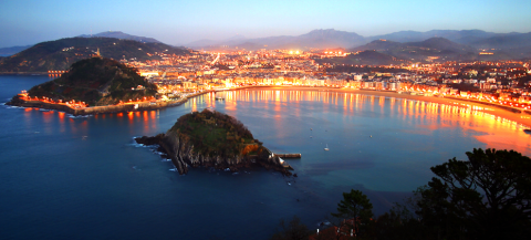 La Concha at Night - San Sebastian