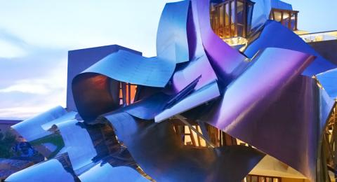 Frank Gehry's colorful roof at Marqués de Riscal winery