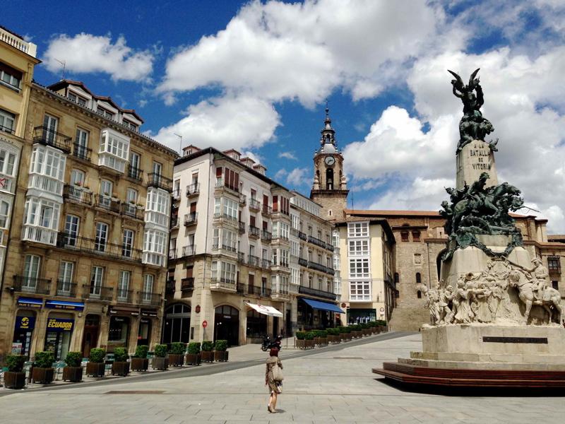 On a Spanish Journey in Vitoria Plaza de la Virgen Blanca